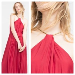 Zara / red halter chain maxi dress